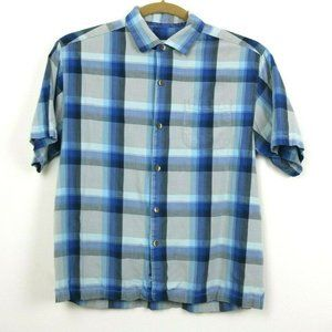 Tommy Bahama Mens Shirt Buttons Plaid Short Sleeve